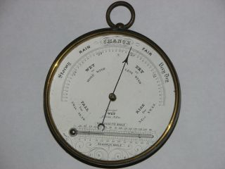 Antique Circular Brass Cased Wall Barometer Thermometer photo