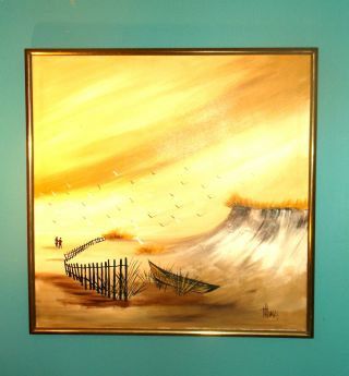 Vintage Oil On Canvas Seascape Painting Artist Signed photo