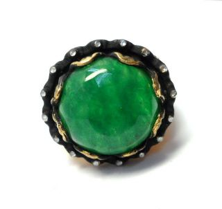Rose Cut Diamond & Jade Gold Plated Authentic Handmade Jewelry Ring Size 8 Us photo