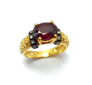 Rose Cut Diamond & Ruby Authentic Gold Plated Vintage Look Jewelry Ring Size 7us photo