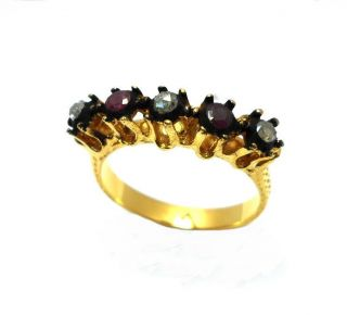 Rose Cut Diamond & Ruby Five Stone Gold Plated Antique Look Jewelry Ring 7.  75 Us photo