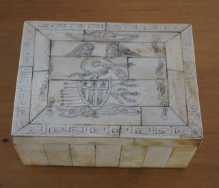 Antique Folk Art Sailor - Made Scrimshaw Box/eagle/gunships photo