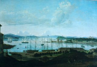 Jacob Janssen,  Sydney Cove 1842,  Sailing Ships In Sydney Harbour. photo