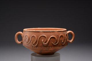 Fine Roman Barbotine Red Ware Pottery Skyphos photo