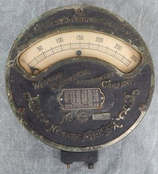 Large Metal Weston Voltmeter Last Patent 1901 photo