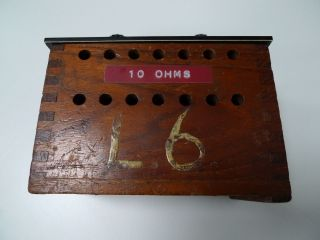 10 Ohm Resistor Mounted In Wooden Box Vintage Physics Electronics Lab Apparatus photo