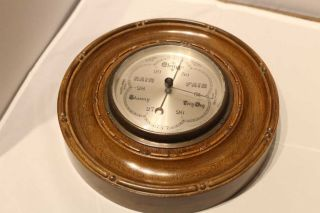 Antique Carved Wood Wall Barometer photo