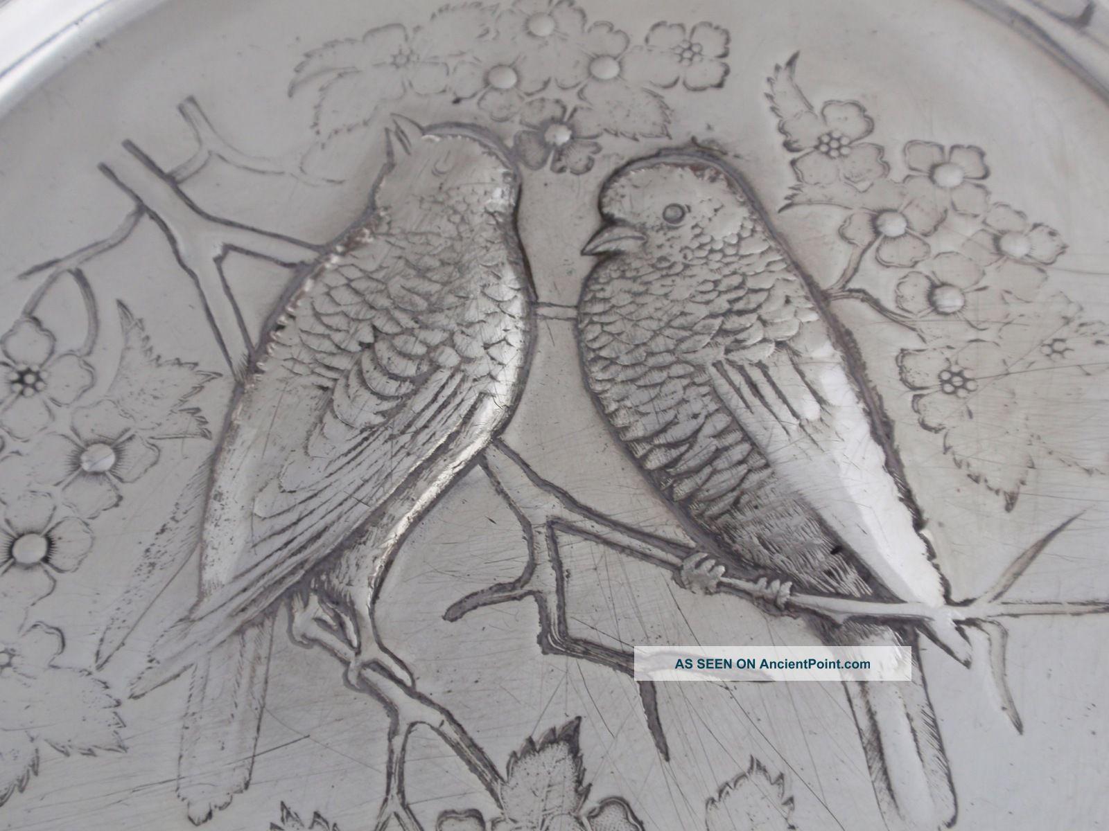 Meriden Victorian Art Nouveau Silverplate Footed Brides Basket,  Birds Baskets photo
