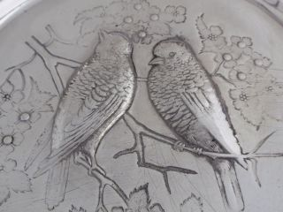 Meriden Victorian Art Nouveau Silverplate Footed Brides Basket,  Birds photo