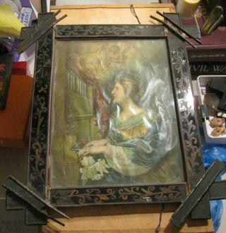 Antique Tin Nicho With A Color Print Saint Cecilia Nicho Has Hand Painted Sides photo