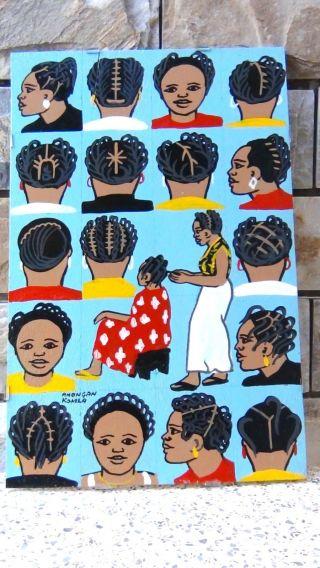 African Barber Sign Advertising Braiding Cutting Hair Salon Art Signed photo