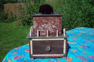 Antique Folk Art Paint Decorated Sewing Box W/ Pin Cushion & Drawer Fresh Find photo