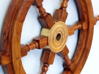 Sailor ' S Handmade Nautical Wooden Steering Wheel Yacht Coastal Wall Decor 18