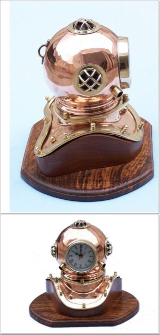 Copper Antique Inspired Divers Marine Diving Ship Helmet Desk Clock 12