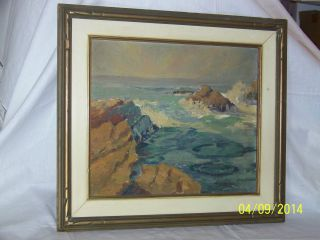 Seascape Oil On Panel Antique Painting Framed photo