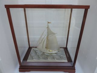 Stunning Vintage Signed Japanese Sterling Silver 985 Takehiko Ship W Box & Paper photo