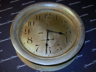 Vintage 20th Century American U.  S.  Navy Maritime Bulkhead Ships Clock Must See photo