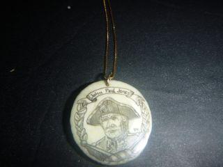 Antique Scrimshaw Dear Antler John Paul Jones An A Eagle Signed Dk.  Very Old photo
