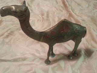 Antique Old Brass Carved Collectible Decorative B Camel Statue Figure photo