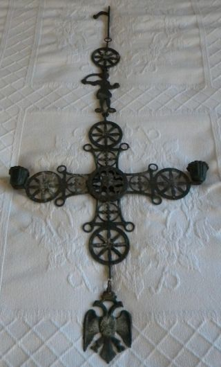 Vintage Large Metal Byzantine Cross Candle Holder photo