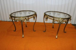 1940 ' S Modern Scroll Metal Oval Shape Side Tables photo