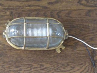 Vintage Brass Oval Bulkhead Light Fixture - Restored,  Rewired & Ready For Use photo