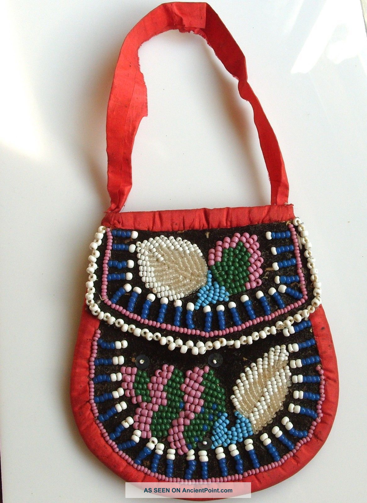 Antique Vintage Beaded Native Indian Purse Beadwork Bag Iroquois Native American photo