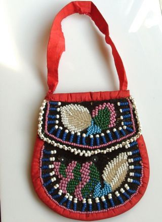 Antique Vintage Beaded Native Indian Purse Beadwork Bag Iroquois photo