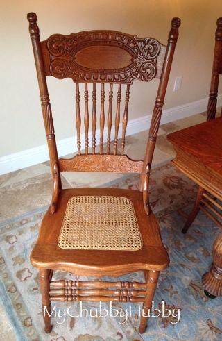 Set/6 1 Oak Larkin Chairs Pressed Back & Cane Antique Refinished P/u Fl - Md photo