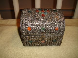 Suberb Middle Eastern Or India Silver Metal Trinket Box W/jewels - Seashells - Lqqk photo