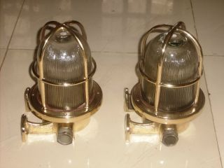 Rare Vintage Marine Brass Lights Set Of 2.  Mrine Vntage photo