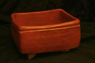 Rare Pre - Colombian Three - Footed Rectangular Red Bowl photo