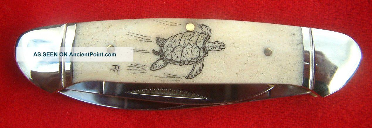 Nautical Scrimshaw Art,  Turtle,  2 Blade Canoe,  Folding Knife/knives Scrimshaws photo