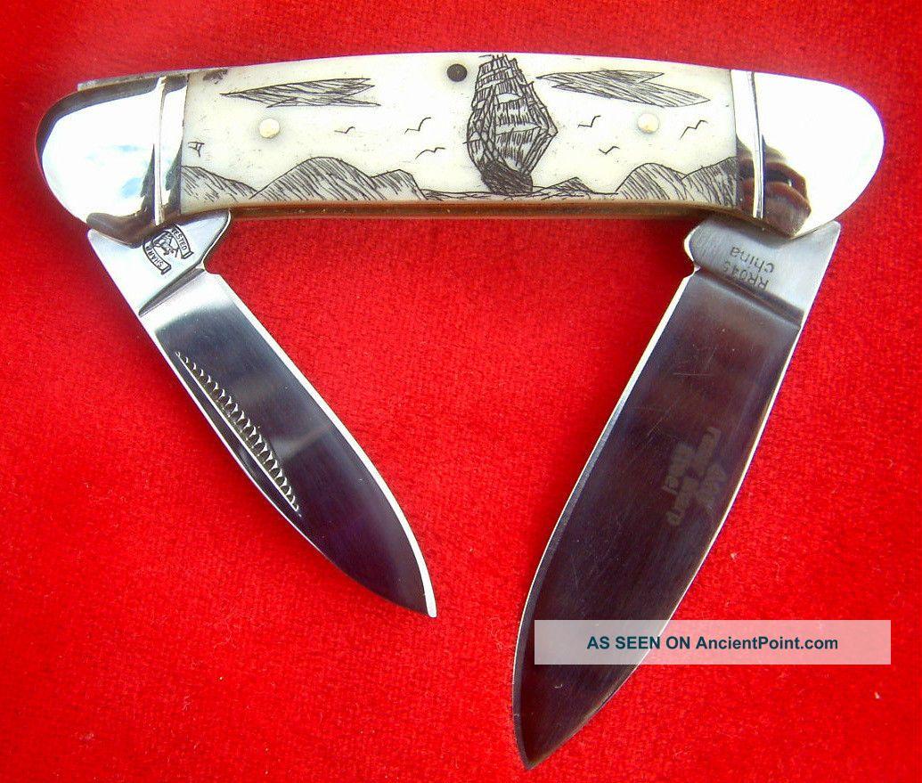 Nautical Scrimshaw,  Ship & Islands,  2 Blade Canoe,  Folding Knife/knives Scrimshaws photo
