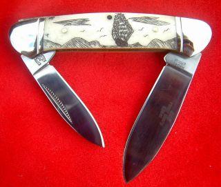 Nautical Scrimshaw,  Ship & Islands,  2 Blade Canoe,  Folding Knife/knives photo
