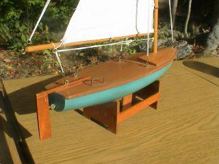Vintage Sail Boat Wood And Cloth Sails,  Model Ship 14