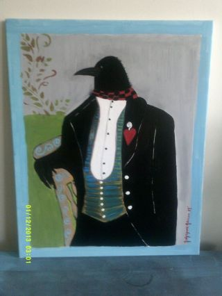 Folk Art Canvas Painting Of