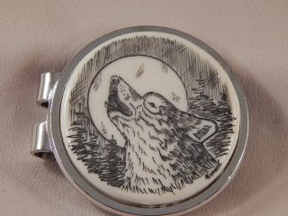 Scrimshaw Resin Money Clip Howling Wolf photo