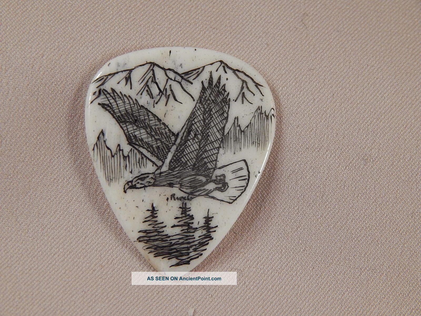 Scrimshaw Bone Guitar Pick - Soaring Eagle Scrimshaws photo
