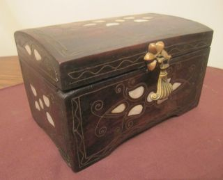 Antique Rare Handmade 19th Century Carved Wood Inlaid Mother Pearl Brass Box photo