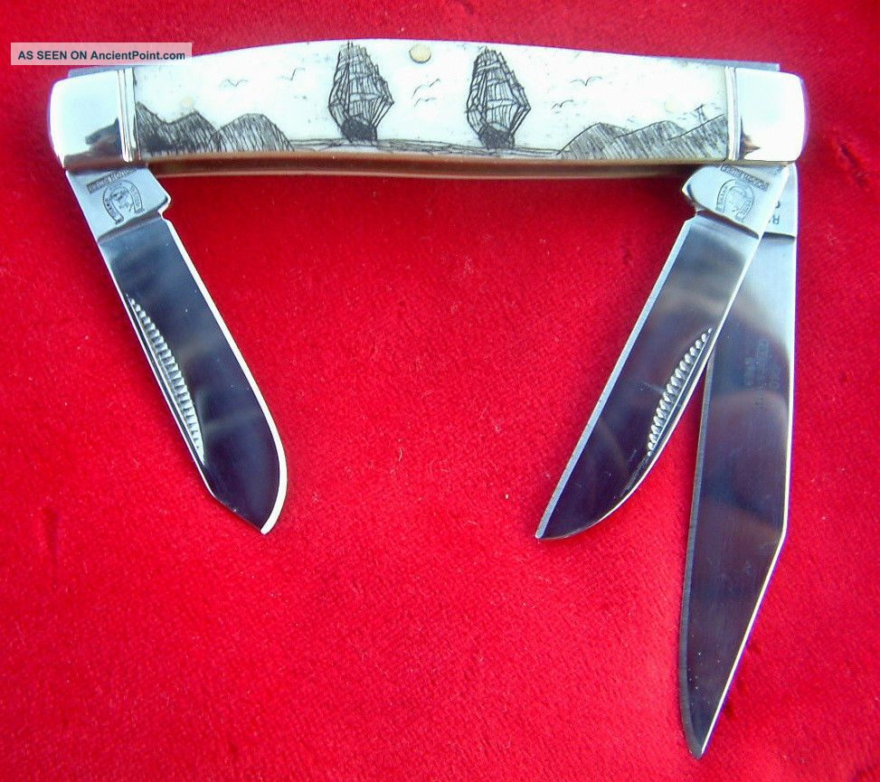 Nautical Scrimshaw Tall Ships,  3 Blade Stockman,  Folding Knife/knives Scrimshaws photo