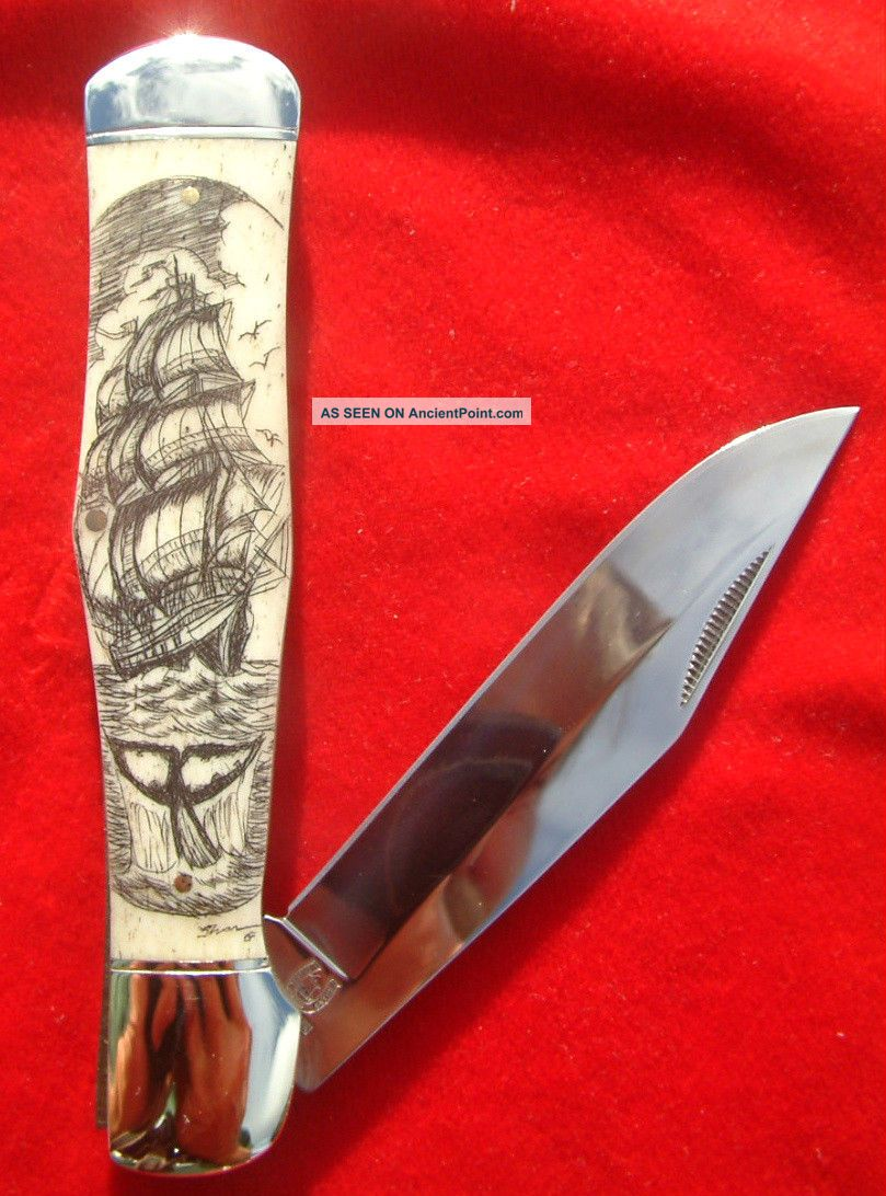 Nautical Scrimshaw Tall Ship & Whale Tail,  By Shar,  Large Folding Knife/knives Scrimshaws photo