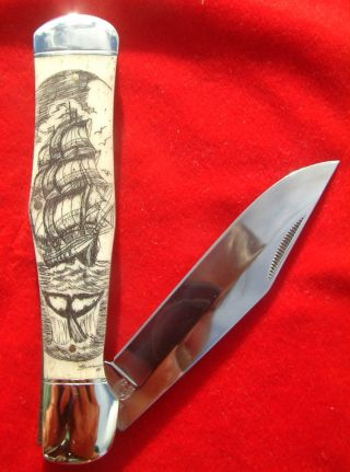 Nautical Scrimshaw Tall Ship & Whale Tail,  By Shar,  Large Folding Knife/knives photo