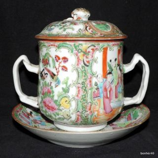 19thc Antique Chinese Porcelain Canton Rose Medallion Mandarin Loving Cup Liner photo