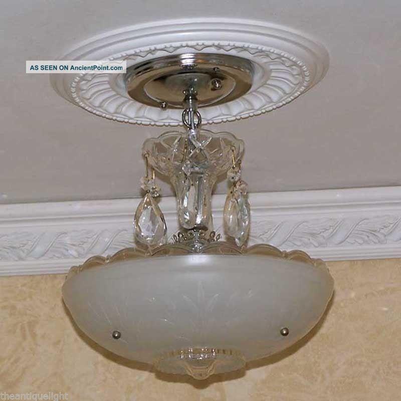 486 40s Vintage Ceiling Light Fixture Petite Chandelier Fixture White ...