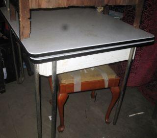Antique Enamel White Black Kitchen Table Art Deco White 1940s 2 Chairs Retro Ww2 photo