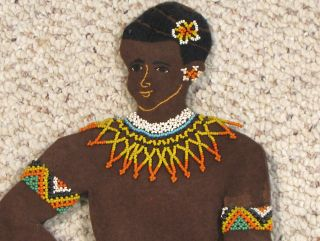 Old African Bead Work Tribal Female Figure - 20