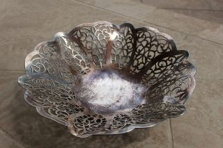 Vintage International Silver Company Bon Bon,  Candy Dish Lovelace Pattern 3016 photo