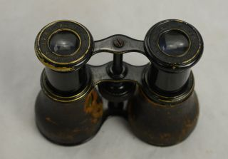 19thc Lemaire Field Glasses Small Binoculars Black Toned Brass Paris Hunting photo