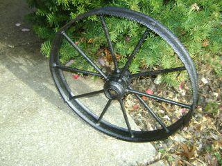 Collectible Med Antique Cast Iron Farm Wheel.  Good. photo